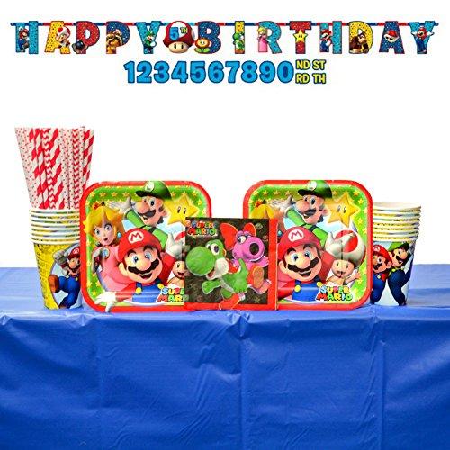 Super Mario Party Supplies Pack: Straws, Dessert Plates,