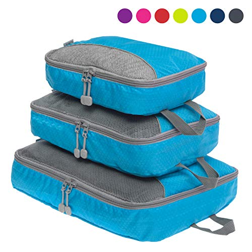 NEW Packing Cubes Set for Travel - Durable 3 Piece Travel Organizer Bundle for Travel, Small, Medium, Large - Globite Australia (Blue)