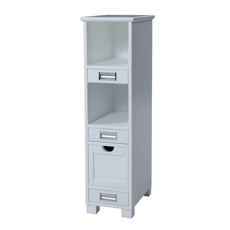 MAYKKE Burton 12 Inch Bathroom Vanity Cabinet in Birch Wood White Finish, Single Surface Mounted White Bathroom Vanity Side Cabinet with Brushed Nickel Hardware YSA9012001
