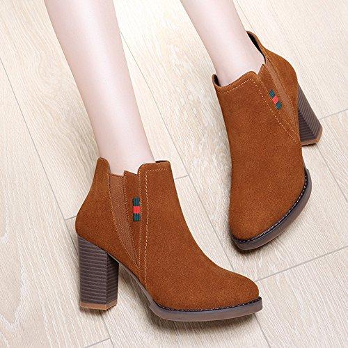 AJUNR-Zapatos De Mujer De Moda High-Heeled Martin Botas Botas Mujer Nueva Otoño Botas De Invierno Irregular Con Zapatos De Mujer Brown 38 brown