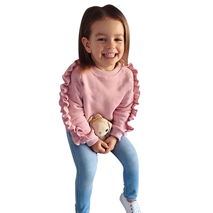 Ropa Niña, ZARLLE Conjunto de Ropa para Niñas 6meses-4 años Bebe Camisetas de Manga Larga Tops + Denim Pantalones Largos Niños Ropa Trajes 2Pcs Conjuntos: ...