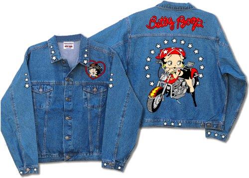 (Licensed Betty Boop Scoot Biker Denim Jacket DJ-9022 (Large) )