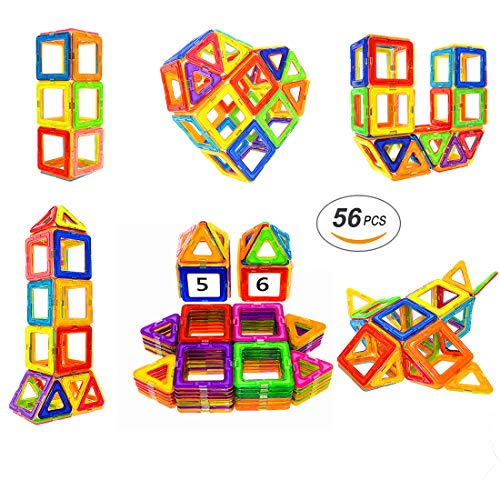 Soyee Magnetic Blocks | STEM Learning Toys | Educational Construction Magnetic Building Tiles Set for 3,4 and 5+ Year Old Boys & Girls | Creative Fun Kit Magnet Toys Gift for Kids-56pcs by Soyee