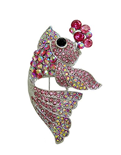 Silver Fish Brooch (TTjewelry Lovely Nagao Fish Pink Austria Crystal Silver-Tone Art Nouveau Brooch)