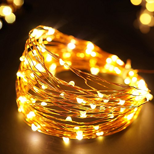 Starry String Lights Gold : BRIGHT ZEAL 33 Long Warm White LED STRING LIGHTS (Copper Wire, TIMER, BATTERY Operated ...