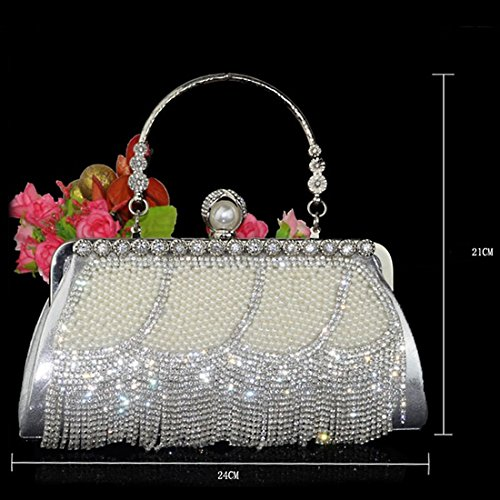 Evening Tassel Party TOYIS Clutch Bags Rhinestone Diamante Handbags Prom with 3 Sparkly Crystal Pearl Wedding Bag Handbags Evening Women's B7qdwq