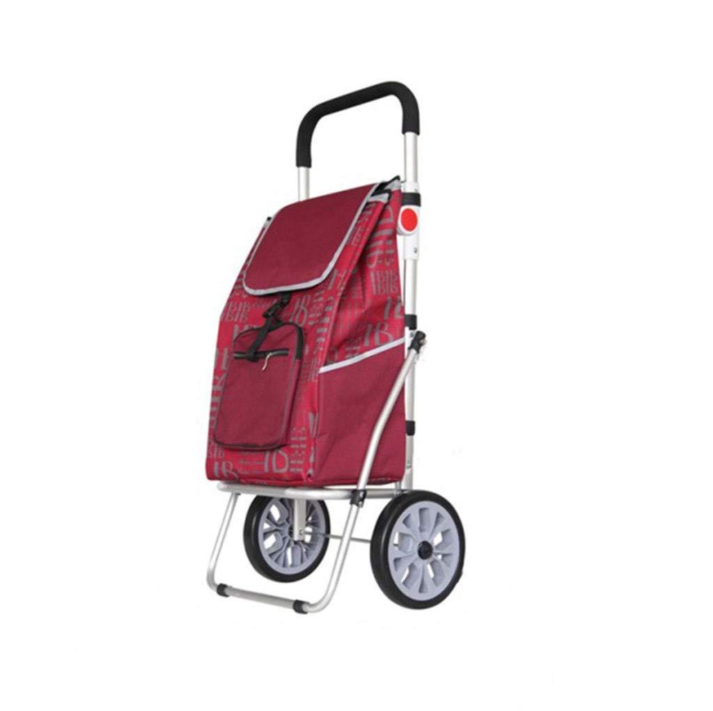クライミングショッピングカートアルミショッピングカート小型カートトロリー折り畳みトロリー車のホームポータブル (色 : 赤ワイン)  赤ワイン B07LCH1KM7
