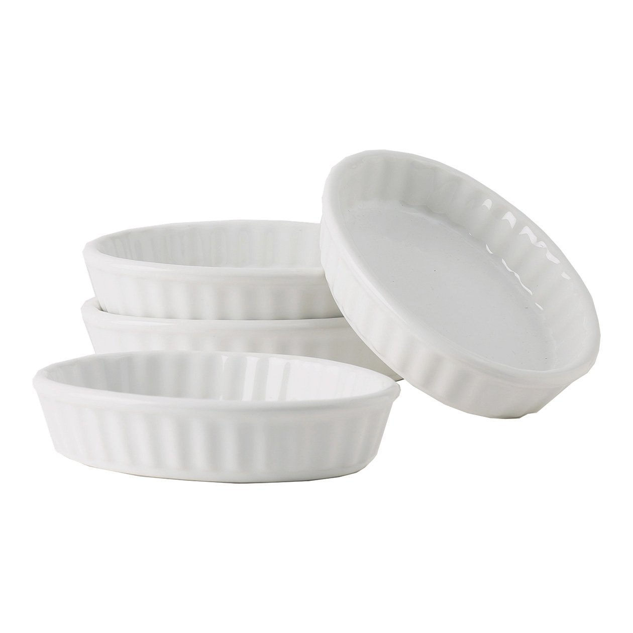 Tuxton Home Duratux Porcelain White Ramekin Fluted 5 oz - Set of 4; Heavy Duty; Chip Resistant; Lead and Cadmium Free; Freezer to Oven Safe up to 500F THBPX0502-4B