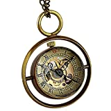 Unisex Mens Ladies Mechanical Pocket Watch Ball Black Hands Pendant Hand-Winding