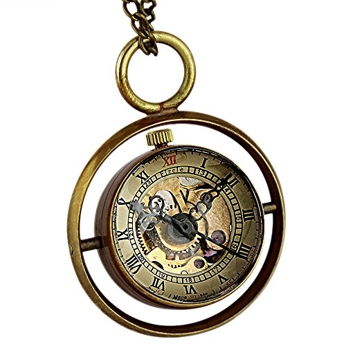 Unisex Mens Ladies Mechanical Pocket Watch Ball Black Hands Pendant Hand-Winding by OLSUS