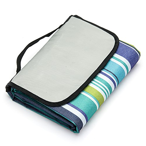 FEIJUN FJ-200003 Extra Large Picnic & Outdoor Blanket with Water-Resistant Backing (stripe) by FEIJUN