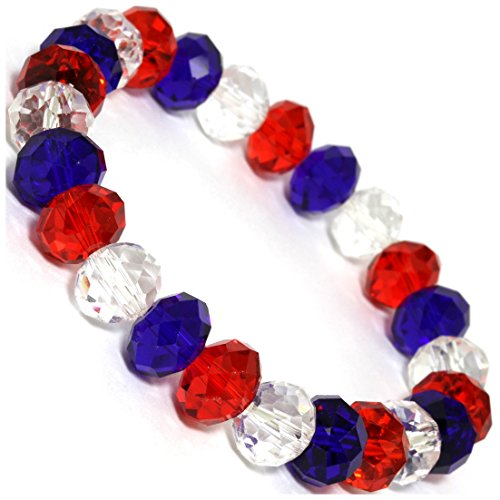 Bracelet Bead Glass Red (AnsonsImages Stretch Bracelet Crystal Cut Oval Beads Red Clear Blue)