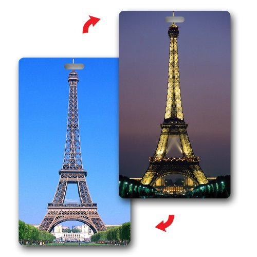 SET of 120 Lenticular Luggage Tag Plastic Loop, Flip Eiffel Tower by Lantor 3D Lenticular
