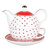 Grace Teaware Porcelain 4-Piece Tea For One (Red Dots Gold Trimmed)