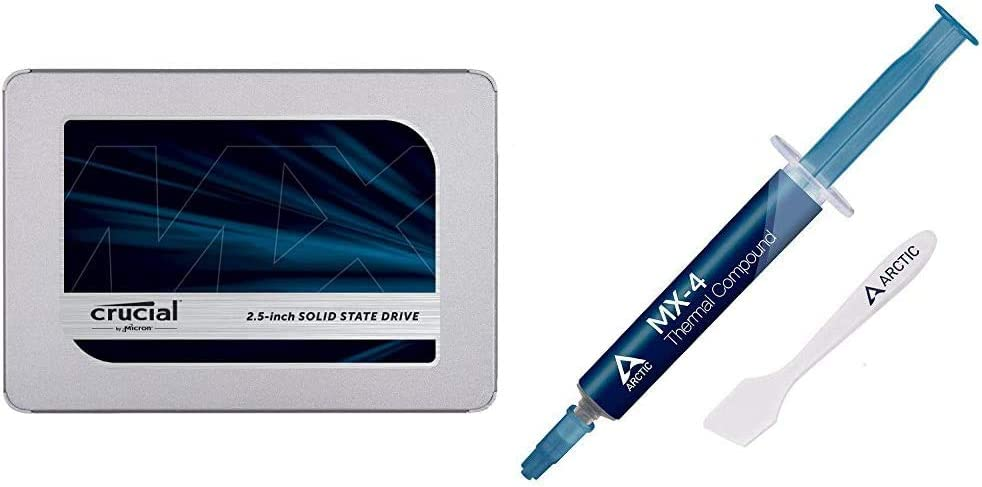 Crucial MX500 2TB 3D NAND SATA 2.5 Inch Internal SSD & Arctic MX-4 - Thermal Compound Paste for Coolers | Heat Sink Paste | Composed of Carbon Micro-Particles | Easy to Apply - 4 Grams