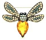 KristLand - Gold Tone Austrian Crystal Animal Fashion Brooch Corsage Pin Pendant Yellow Insect