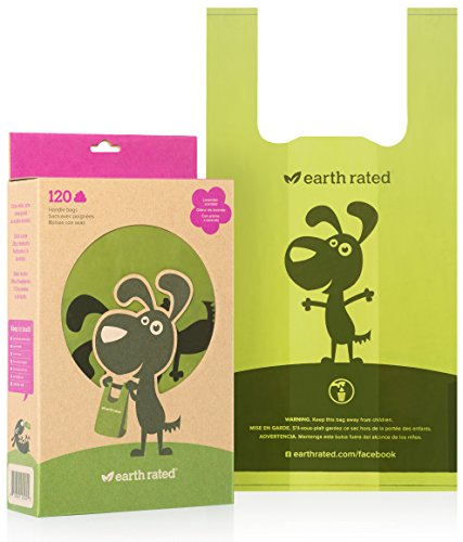 Large Product Image of Earth Rated Poop Bags, Dog Waste Bags with Easy Tie Handles, Lavender-scented, Completely Leak-Proof, Fits Standard Sized Cat Litter Scoops, 7 x 13.5 Inches, Easy Dispensing Pouches, 120 Bags