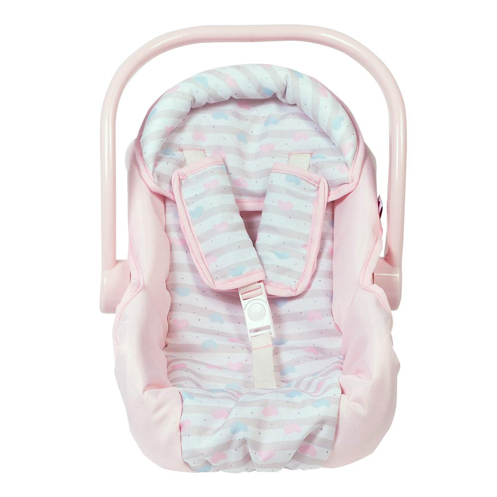 Adora Baby Doll Car Seat - Pink Car Seat Carrier, Fits Dolls Up to 20 inches, Stripe Hearts Design