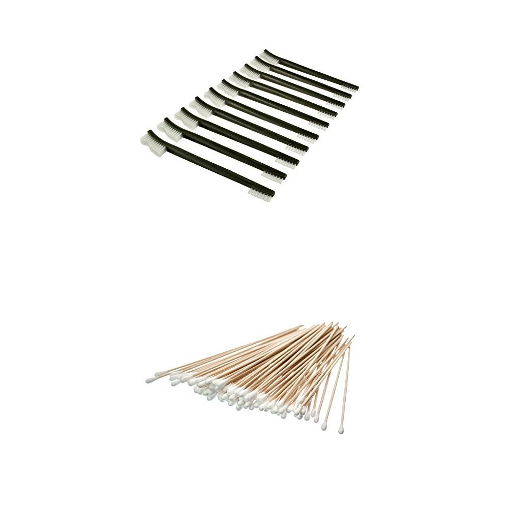 SE 7615NB10PCS 10-Piece Double-Ended Gun Cleaning Brush Set with Cotton Swabs