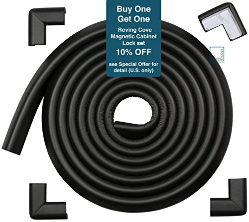 Roving Cove Baby Corner Guards & Edge Protectors - 15 Feet + 4 Corners - Onyx Black - Furniture Bumpers, Toddler Safety, Child Proofing Pads for TV Stands, Coffee Tables, Desks, Fireplace, (Cocktail Table Finish)