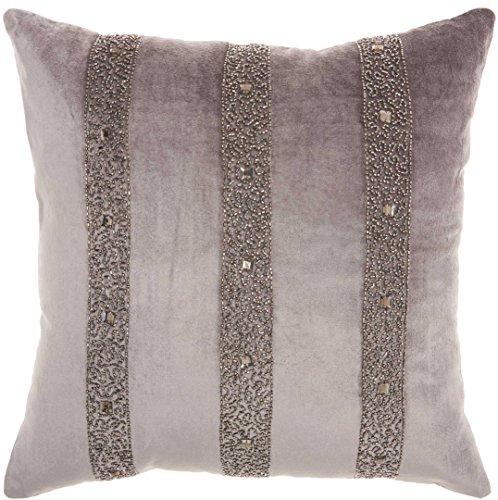 Inspire Me Home Décor Dark Grey Beaded Stripes Throw Pillow, 18 x 18