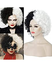 Cruella Deville Wig Black and White Wigs for Women Short Curly Wavy Bob Hair Wig Cute Synthetic Wigs for Party Cosplay Halloween