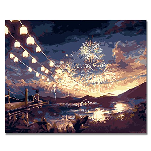(Rihe Diy Oil Painting by Numbers -Fireworks- PBN Kit for Adults Girls Kids White Christmas Decor Decorations Gifts 16x20inch (Frameless))
