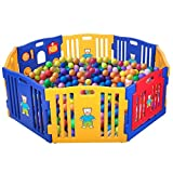 LAZYMOON Baby Playpen Kids 8 Playpen Panel Safety Play Center Yard Home Indoor Outdoor Blue