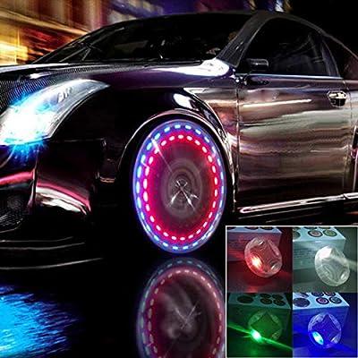 GOADROM Car Tire Lights, 4pcs Solar Car Motocycle Wheel LED Tire Light Air Valve Cap with Motion Sensors Tire Valve Caps Solar Energy LED Light for Car Motorcycles Bicycles: Automotive