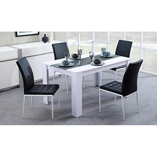 Damia table de séjour 140 cm blanc-gris