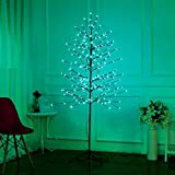 Bolylight LED Cherry Blossom Tree 6ft 208L & Indoor and Outdoor Decoration Lighted Tree for Bedroom/Party/Wedding/Office/Home Turquoise
