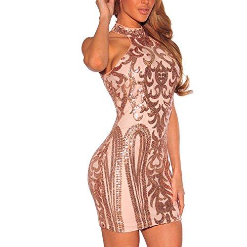 Vestidos Sexys Casuales Cortos Dorados De Fiesta Ropa De Moda Para Mujer 2018 De Noche Elegantes VE0047 at Amazon Womens Clothing store: