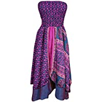 Mogul Interior Saanvi Womens 2 In 1 Strapless Dresses Vintage Sari Two Layer Printed Maxi Skirts