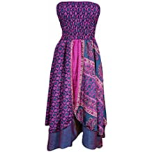 Mogul Interior Saanvi Womens 2 In 1 Strapless Dresses Vintage Sari Two Layer Printed Maxi Skirts