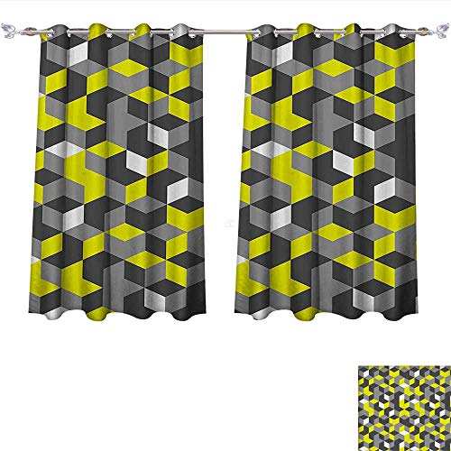 Price comparison product image Room Darkening Thermal Insulated Grey and Yellow 3D Print Inspired Modern Geometrical Boxes Cubes Image Mustard Yellow Black and White Blackout Curtain for Living Room (W63 x L72 -Inch 2 Panels)