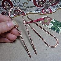 Set of 2 Metal Hair Forks for Long Hair, U-shape Twisted Prongs Copper Hair Pins, Custom Length, Handmade Boho Style Hair Accessories