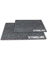 STONELINE® Glazen snijplank, snijplaat, kookplaat, 2-delige set, 40 x 30 cm en 20 x 30 cm, voor vlees, vis, groenten, fruit