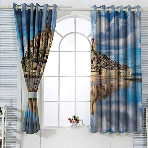 L'sWOW Window Curtain Fabric Medieval,French Castle on The Sea Insulated Blackout Curtain W55 x L63 inches ()