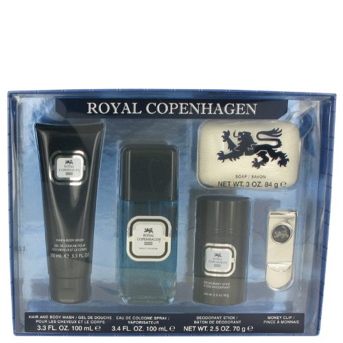 ROYAL COPENHAGEN by Royal Copenhagen Men's Gift Set -- 3.4 oz Cologne Spray + 3.3 oz Hair & Body Wash + 2.5 oz Deodorant Stick + 3 oz Soap + Free Money Clip - 100% Authentic
