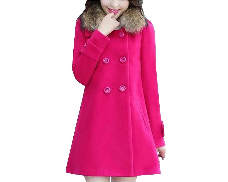 Binn Women Long Woolen Removable Fur Lapel Trench Woolen Coat