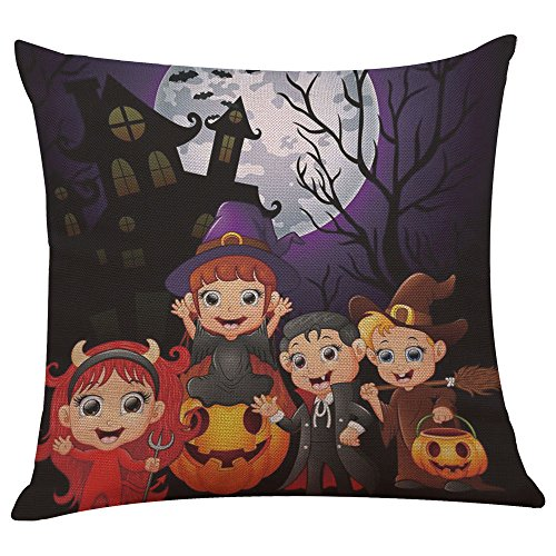 Euro Computer Bed - Pgojuni_Pillowcases Happy Halloween Flax Decorative Throw Pillow Cover Cushion Cover Pillow Case for Sofa/Couch 1pc (45X45 cm) (O)