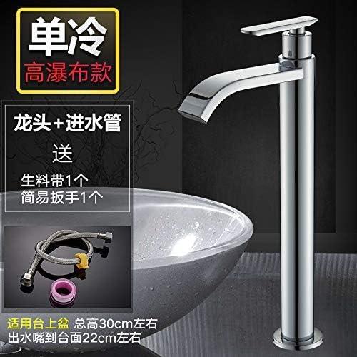 BXU-BG シングルコールド蛇口バルコニー洗面台の蛇口洗面台シングルバスルームバスタブ蛇口、ハイ滝冷水