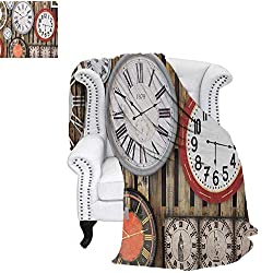 Digital Printing Blanket Antique Clocks on The Wall Instruments of Time Vintage Design Pattern Artwork Summer Quilt Comforter 62x60 Brown and Red