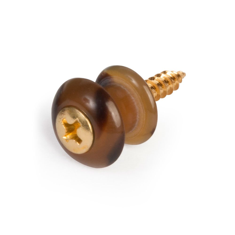 Waverly Guitar Strap Button, Dark Tortoise Button, Gold Screw
