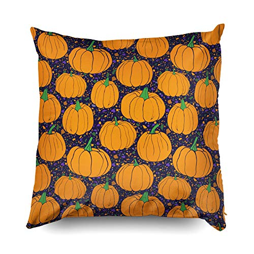 (Shorping Zippered Pillow Covers Pillowcases 20X20 Inch Halloween Pumpkins Pattern with terrazzo Background Blue Details Decorative Throw Pillow Cover,Pillow Cases Cushion Cover for Home Sofa)