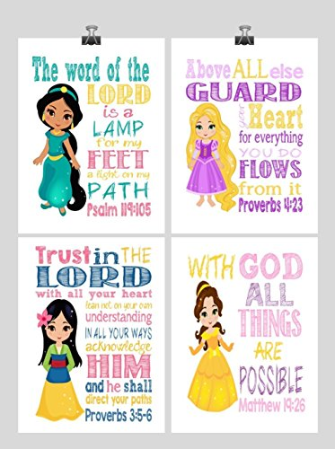 Princess Set of 4 - Christian Nursery Decor Wall Art Print - Rapunzel, Jasmine, Belle, Mulan - Bible Verse - Multiple Sizes