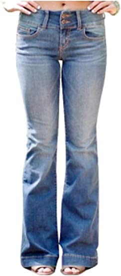 AngelSpace Women's Washed Mid Rise Skinny Britain Slim Fit Flared Jeans Pants