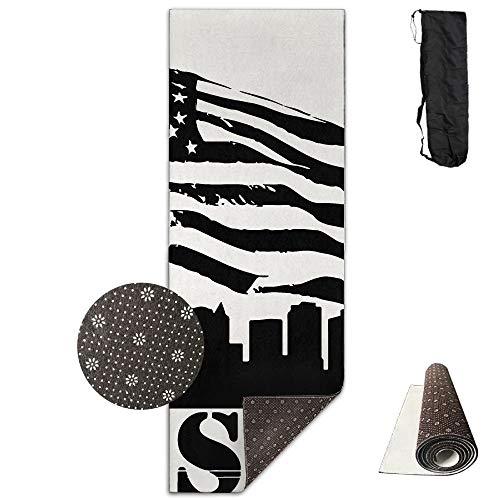 Boston City View American Flag Deluxe,Yoga Mat Aerobic Exercise Pilates Anti-Slip Gymnastics Mats