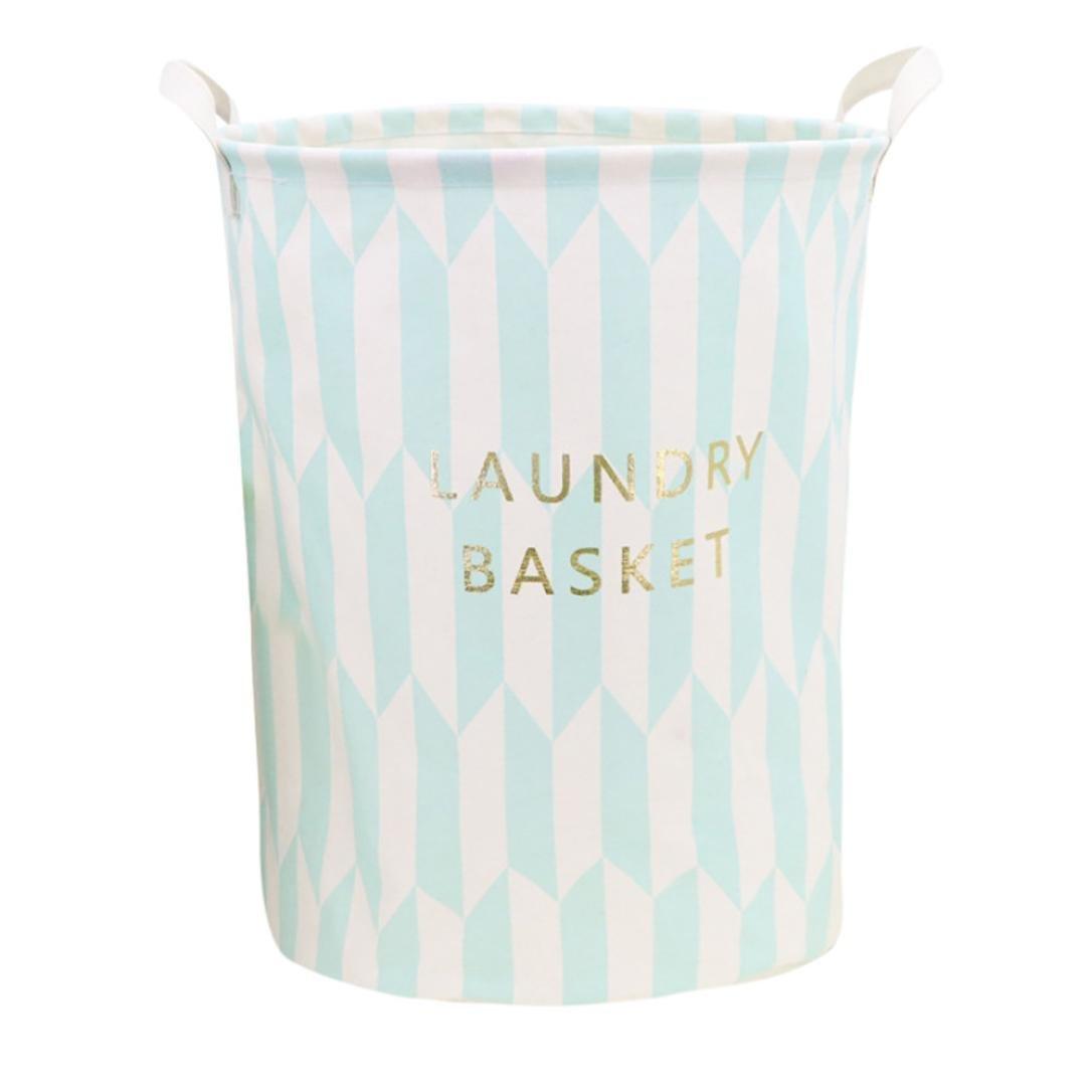 YJYDADA Waterproof Canvas Laundry Clothes Basket Storage Basket Folding Storage Box (E)