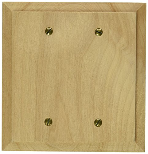 Amerelle 180BB Baker Unfinished Alder Wood, 2 Blank Wall Plate - Wood Finish Switchplate